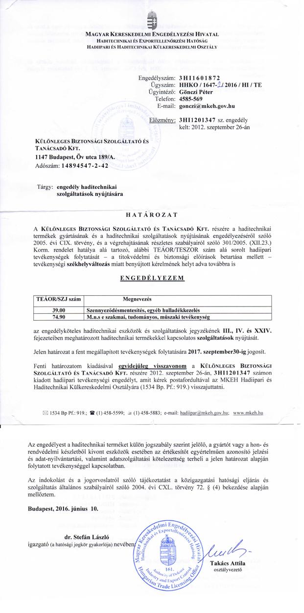 Lőszermentesítés - Engedély haditechnikai szolgáltatások nyújtására