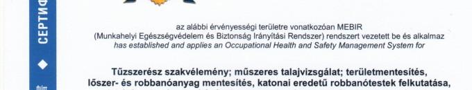 Különleges Biztonsági Szolgáltató és Tanácsadó Kft.  H -1147 Budapest, Öv utca 189/A – lőszermentesítés